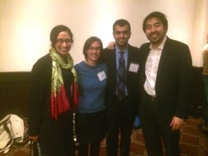 Nitin Shrivastava at a Global Oncology event with the founders, Dr. Ami Bhatt and Dr. Franklin Huang